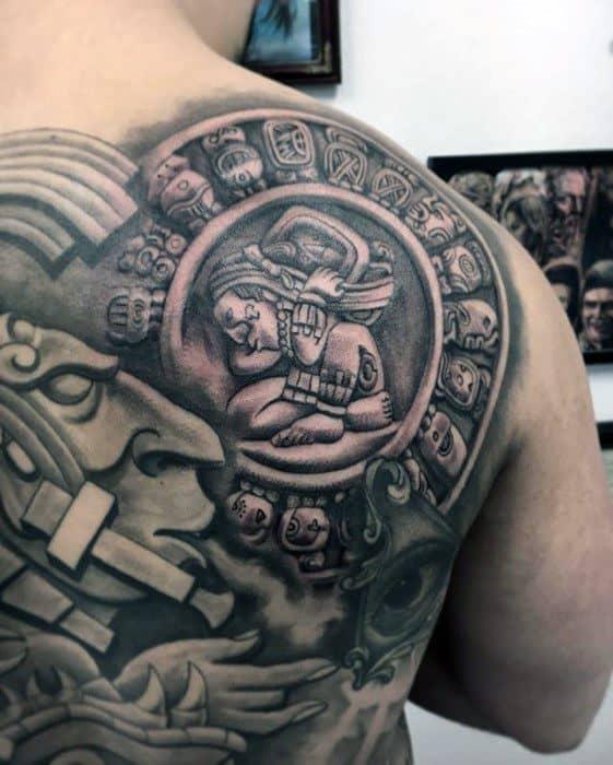 Hyper Realistic 3d Stone Shoulder And Back Mens Mayan Calender Tattoo Design Ideas