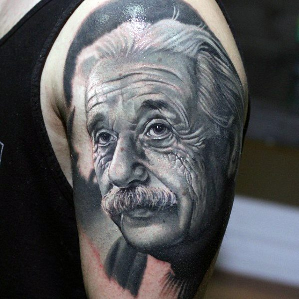 Hyper Realistic Arm Albert Einstein Tattoo Design Ideas For Males