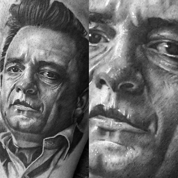 Hyper Realistic Back Male Cool Johnny Cash Tattoo Ideas