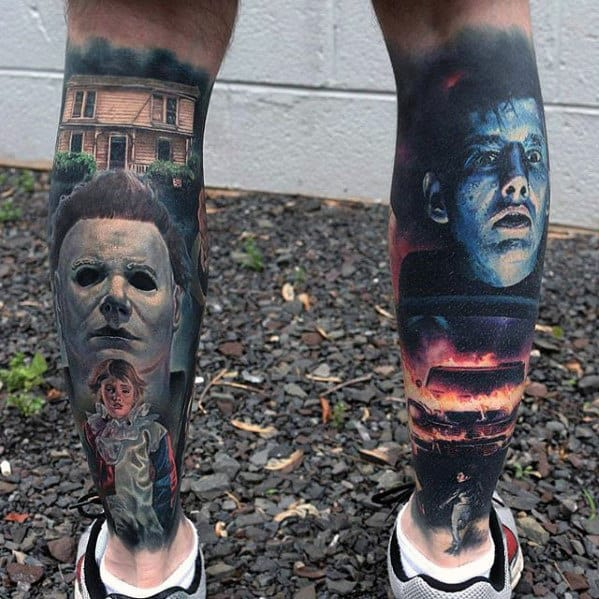 Hyper Realistic Back Of Leg Mens Horror Themed Tattoos