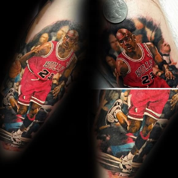 Hyper Realistic Chicago Bulls Basketball Player Mens Arm Tattoos
