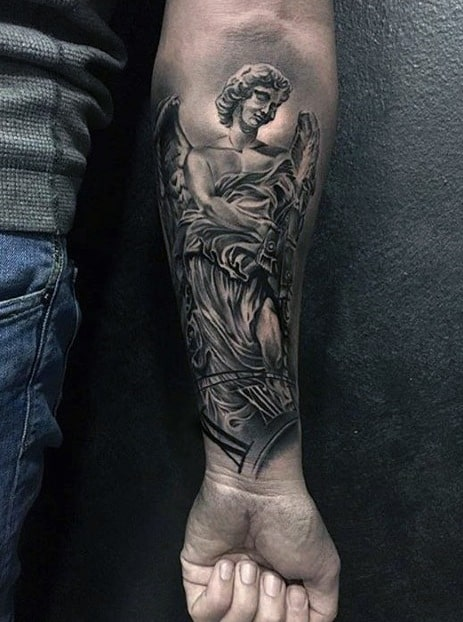 Hyper Realistic Forearm Angel Statue Guys Tattoos