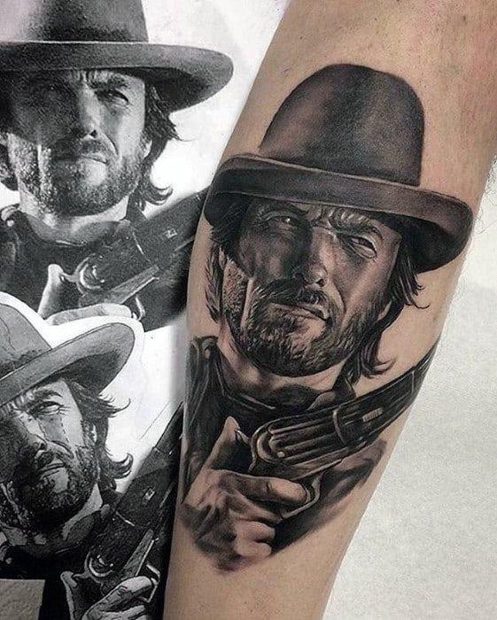 Hyper Realistic Guys Leg Calf Cowboy Tattoo