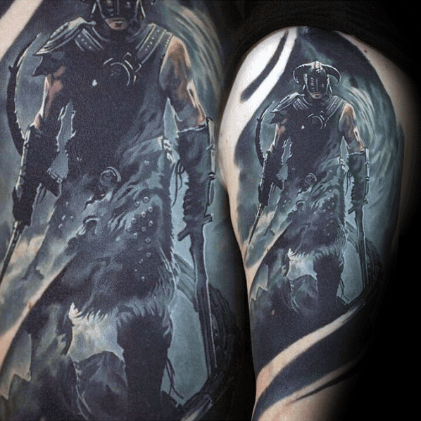 Hyper Realistic Half Sleeve 3d Mens Cool Skyrim Tattoo Ideas