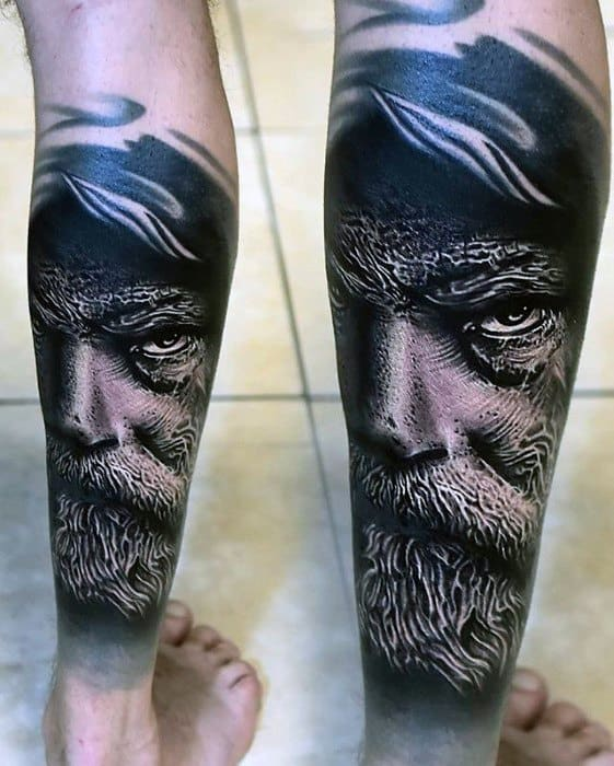 Hyper Realistic Leg Portrait Guys Tattoo Designs