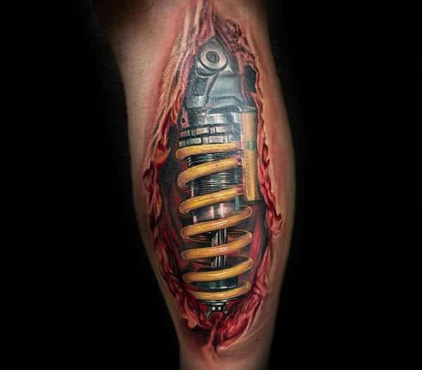 Hyper Realistic Mens Back Of Leg Shock 3d Tattoo