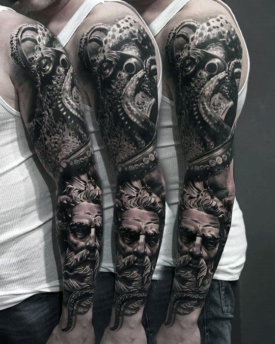 Hyper Realistic Octopus With Greek God Mens Sleeve Tattoo
