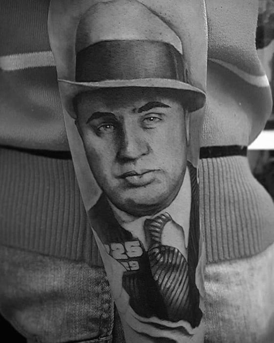 Hyper Realistic Outer Forearm Al Capone Mens Tattoo Ideas