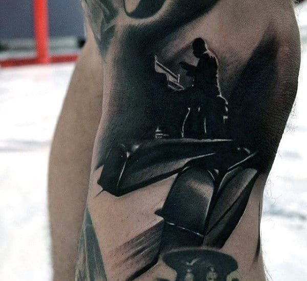 Hyper Realistic Piano Keys With Player Mens 3d Arm Tattoo Ideas