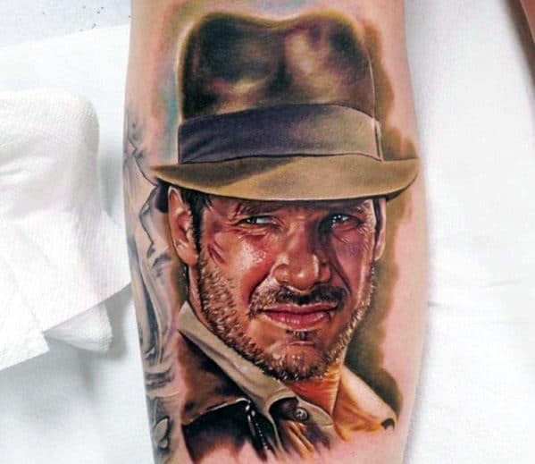 Hyper Realistic Portrait Indiana Jones Tattoo Designs On Men