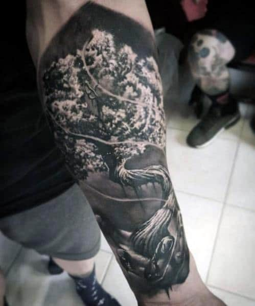 Hyper Realistic Tattoo Cool Tree Designs For Men