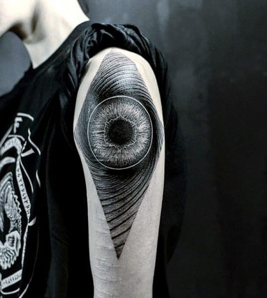 Hypnotising Eye Tattoo Mens Shoulders
