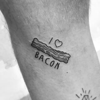 I Love Bacon Cute Small Tattoo