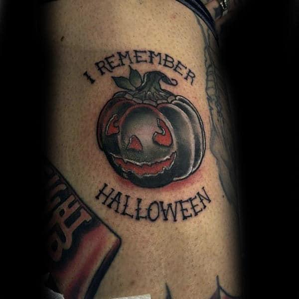 60 pumpkin tattoos for men jack o 39 lantern design ideas. Black Bedroom Furniture Sets. Home Design Ideas