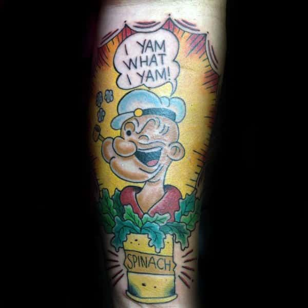 I Yam What I Yam Colorful Spinach Popeye Forearm Guys Tattoos