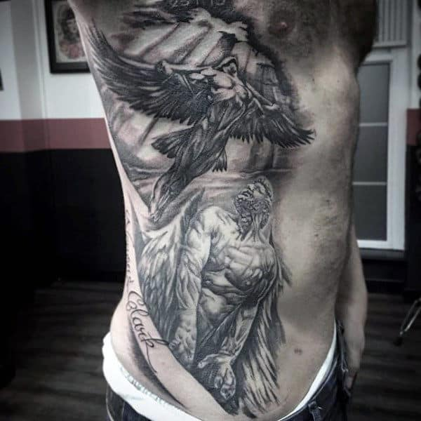Icarus With Father Guys Shaded Full Rib Cage Side Of Body Tattoos