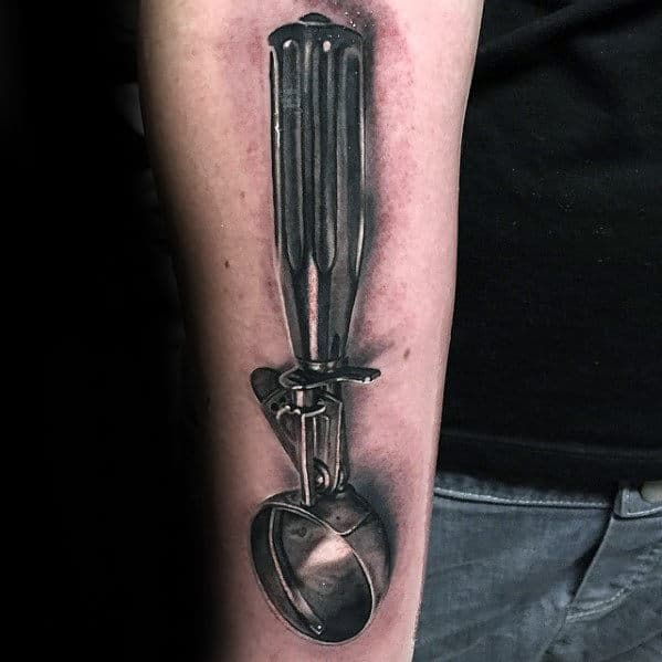 Ice Cream Scoop Mens Hyper Realistic Chef Tattoo On Inner Forearm