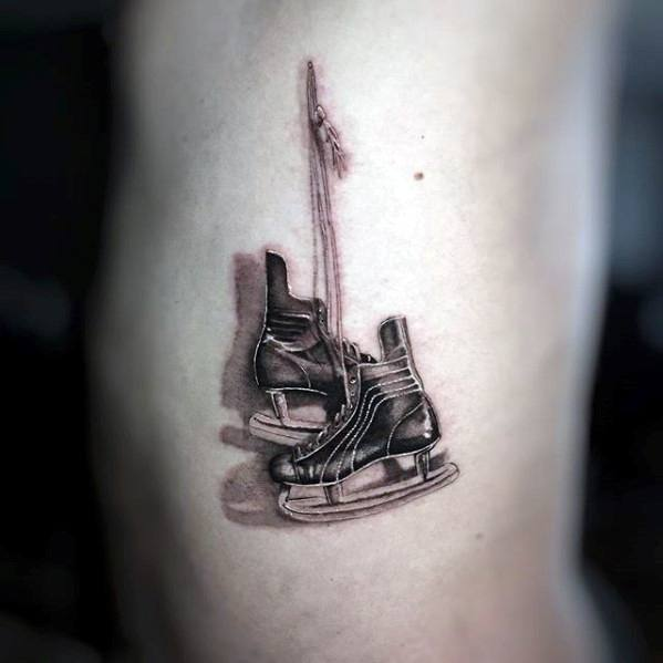 Ice Skates Male Sports Tattoo Design Inspiration