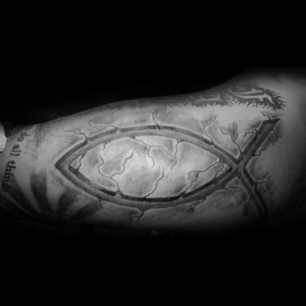 Ichthus Mens Tattoo Designs Inner Arm Bicep Stone 3d