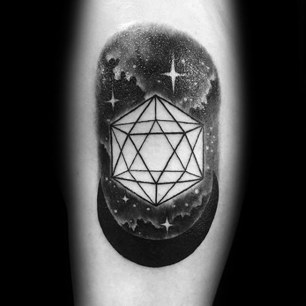 Icosahedron Mens Tattoo Designs