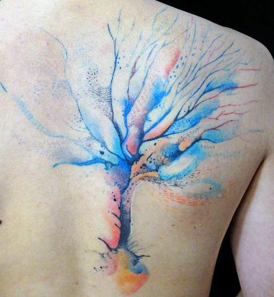 Icy Blue Watercolor Tree Tattoo Mens Back