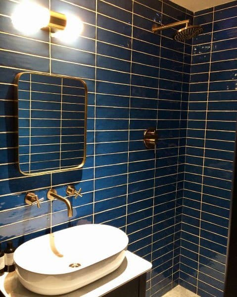 Idea Inspiration Blue And Gold Tile Bathroom Designs