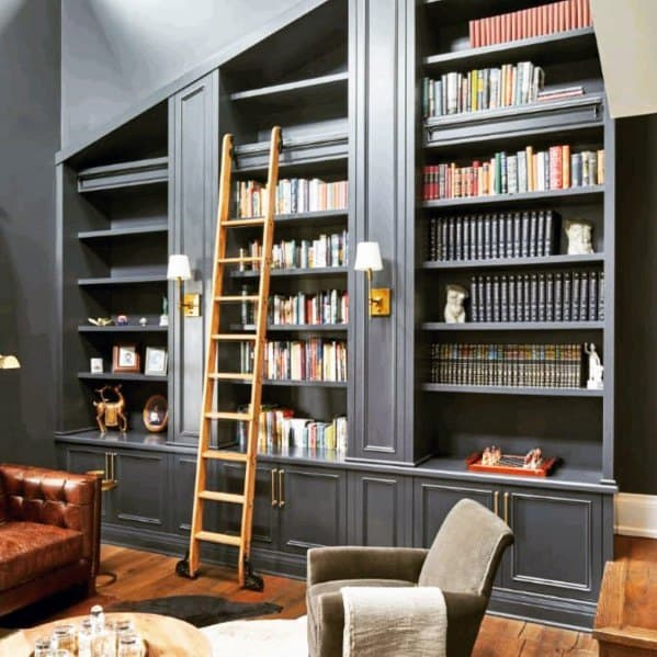 Idea Inspiration Floor To Vaulted Ceiling Grey Bookshelves Designs