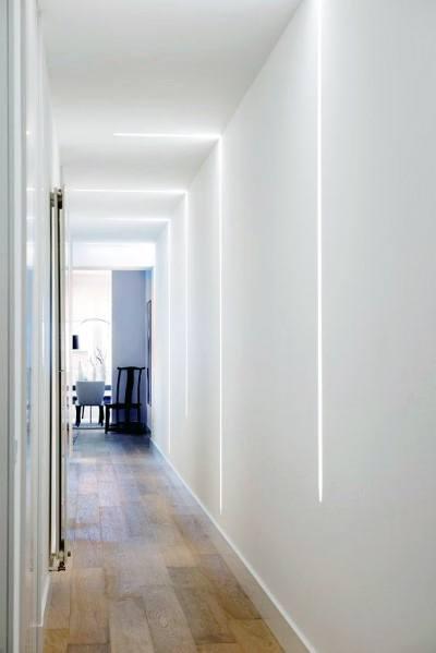 Lighting Basement Washroom Stairs: Top 60 Best Hallway Lighting Ideas