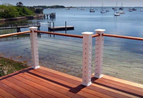 Ideas Deck Railing White Posts With Wood Handrails And Steel Wires