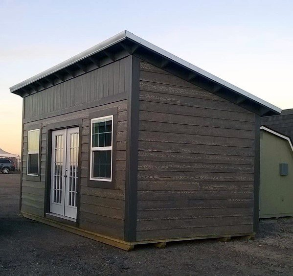 Ideas For Backyard Shed With Wood Siding And Hip Roof