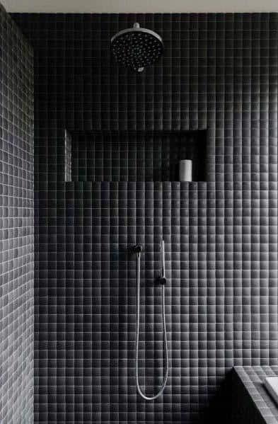 Ideas For Bathroom Black Tile Shower