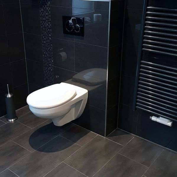 Ideas For Bathroom Black With White Wall Hung Toilet