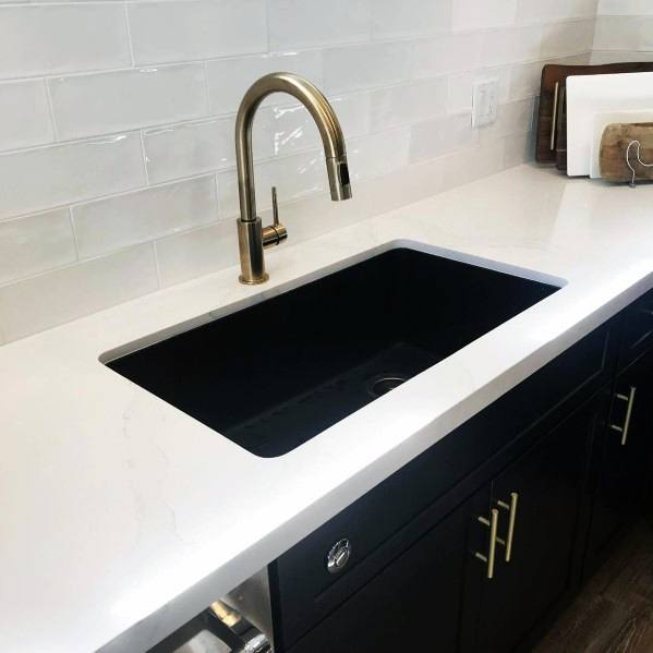Ideas For Black Kitchen Cabinet With Gold Sink Faucet And Hardware