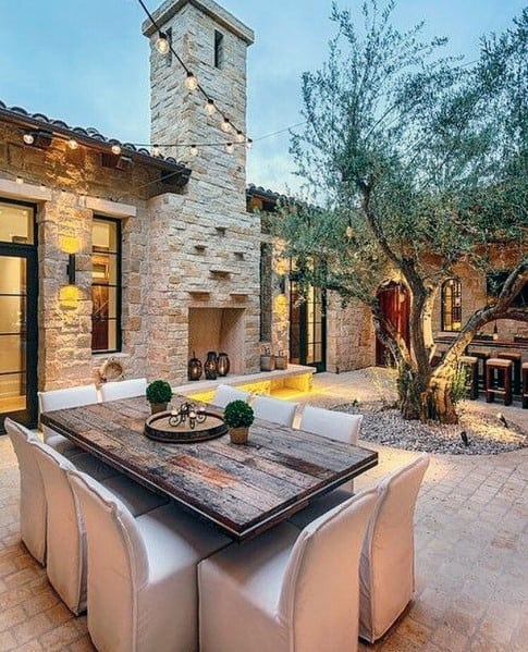 Ideas For Brick Patio With Stone Fireplace