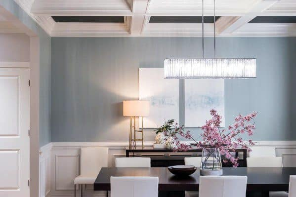 Ideas For Chair Rail Interior Dining Room With Coffered Ceiling