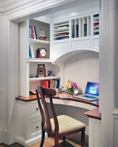 Ideas For Closet Office With Built In Desk And Storage