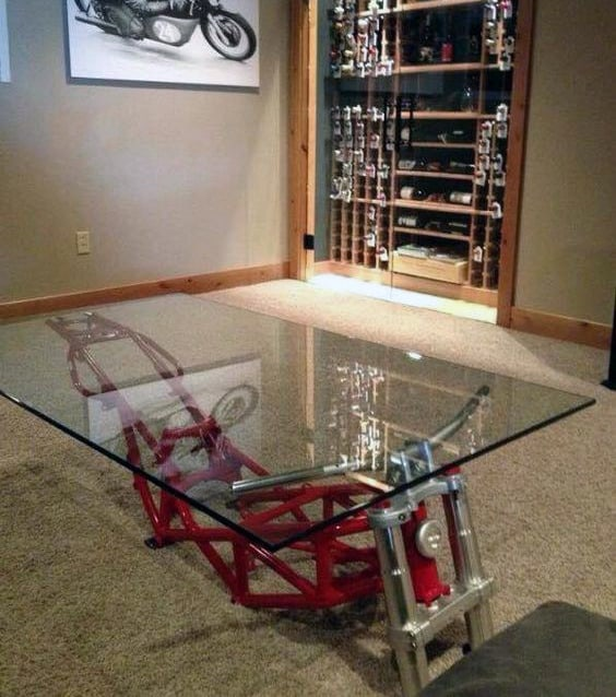 Ideas For Decorating A Man Cave Motorcycle Frame Coffee Table