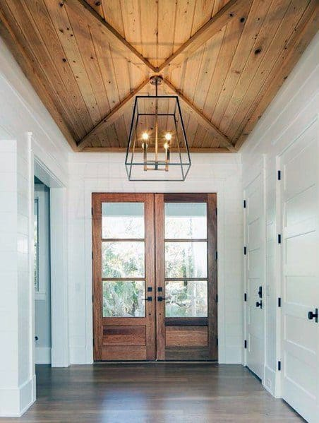 Ideas For Foyer Lighting With Wood Board Ceiling