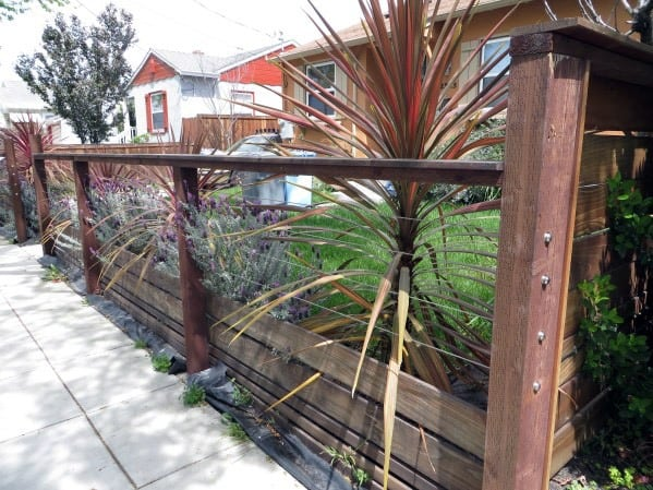 Ideas For Front Yard Fence Exterior Metal Cable Wire And Wood