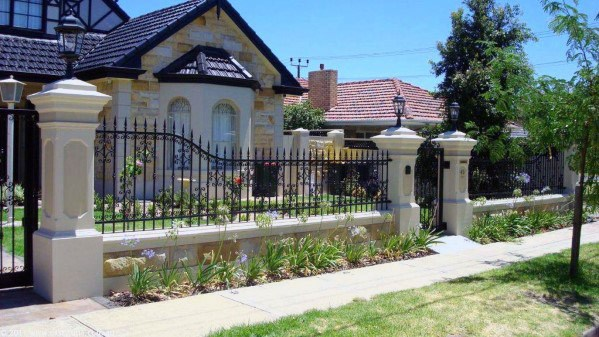 Ideas For Front Yard Fence Luxury Wrought Iron And Stone