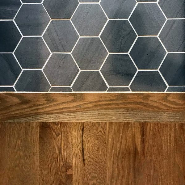 Ideas For Home Black Hexagon Tile To Oak Hardwood Floor Transition