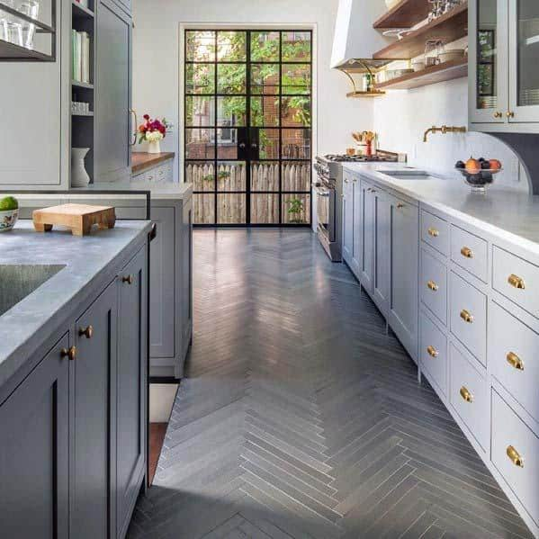 Ideas For Home Kitchen Tile Floor Grey Herringbone