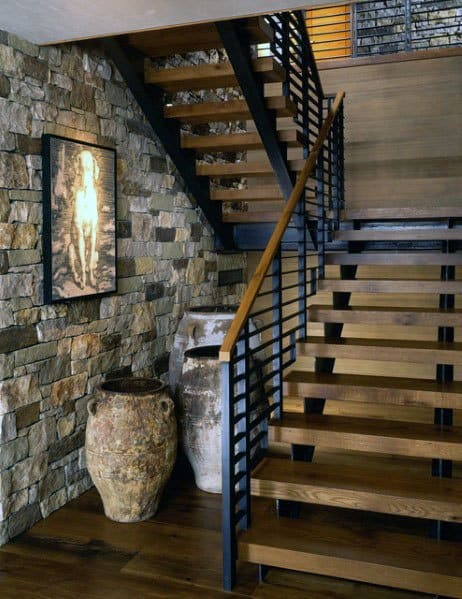 Ideas For Home Wood Stairs With Metal Rail