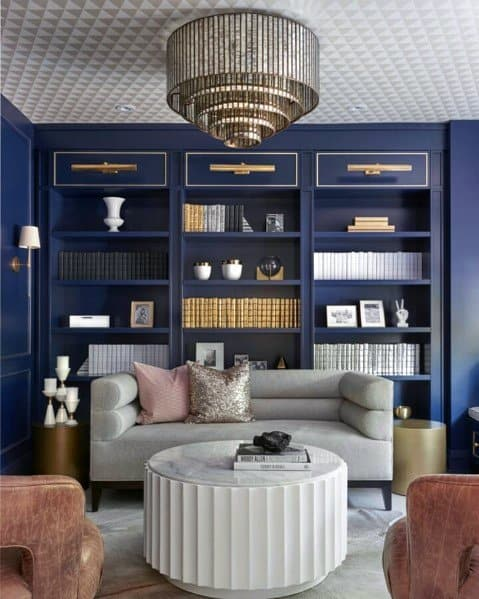 Ideas For Living Room Blue Built In Bookcase