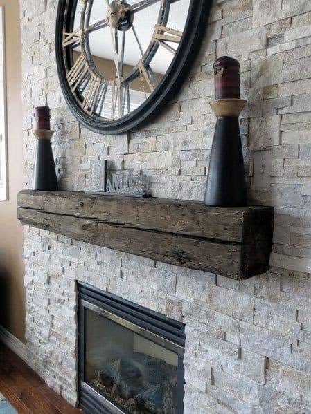 Ideas For Living Room Stacked Stone Gas Fireplace With Faux Wood Mantel