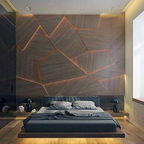 Perfect Ideas For Mens Bedroom With Unique Wall Design