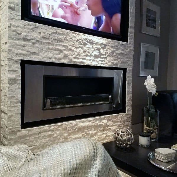 Ideas For Stacked Stone Gas Fireplace Modern Living Room