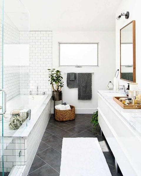 Ideas For White Bathrooms Slate Tile Floors