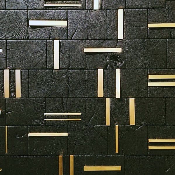 Ideas Textured Wall Wood Blocks With Brass Insert Accents