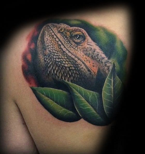 Iguana Mens Tattoo Designs